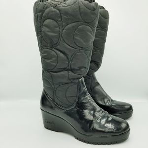 COACH Cantina Logo Quilted Winter Snow Boots Sz 6